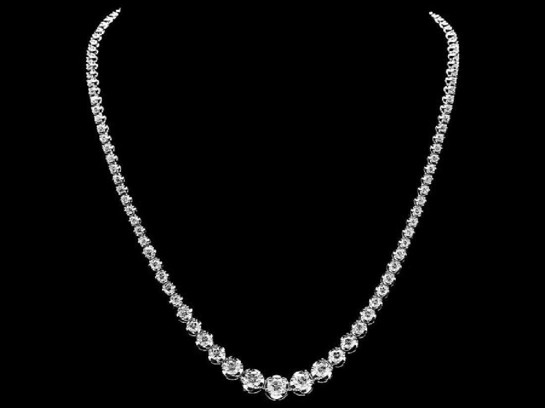 18k White Gold 10.20ct Diamond Necklace - 2