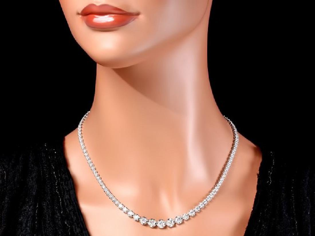 18k White Gold 10.20ct Diamond Necklace - 4