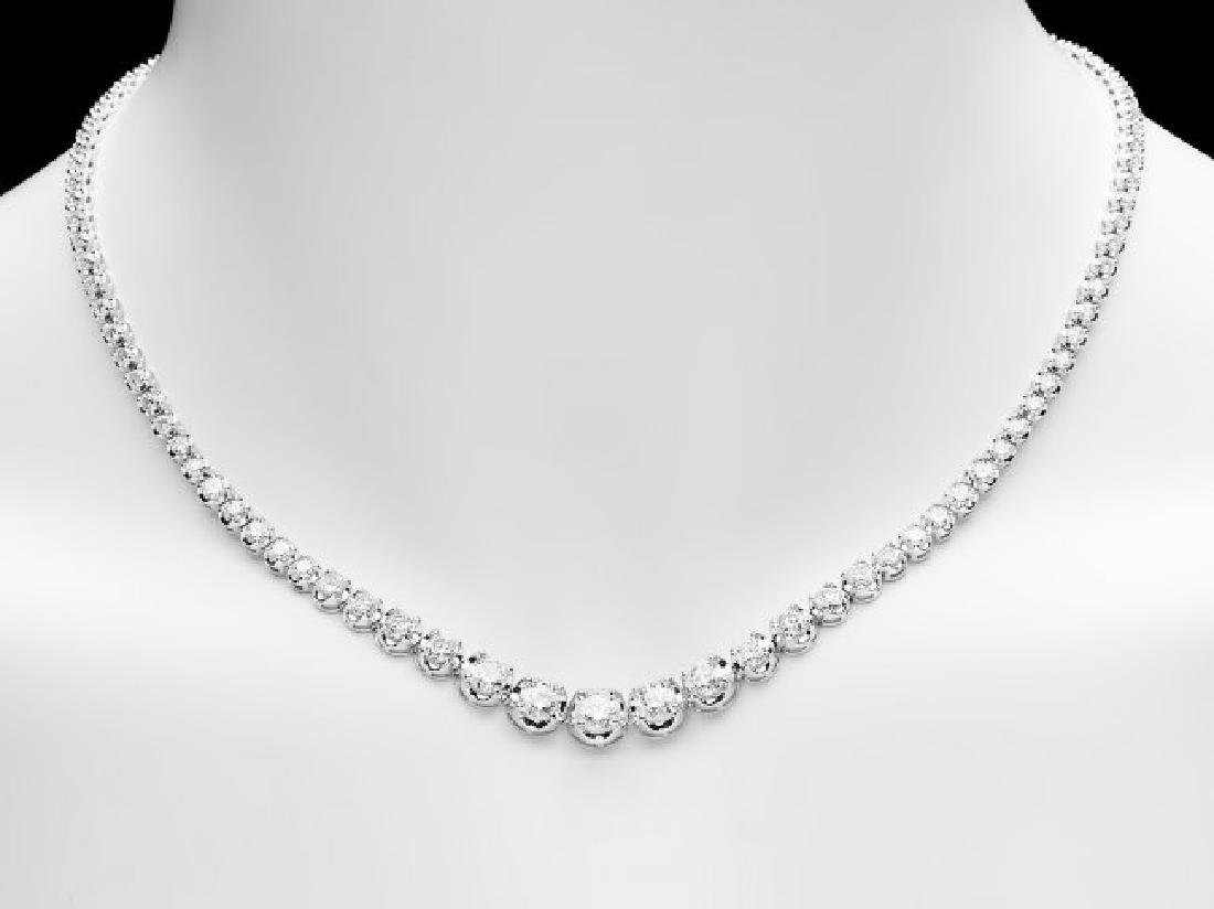 18k White Gold 10.20ct Diamond Necklace - 5