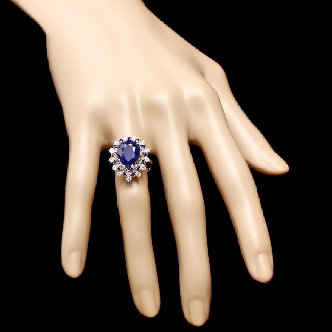 14k Gold 5.55ct Sapphire 0.55ct Diamond Ring - 4