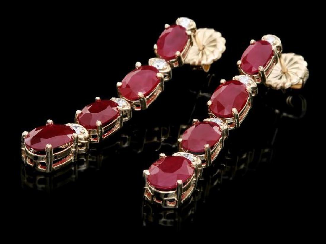 14k Gold 7.00ct Ruby 0.30ct Diamond Earrings - 2