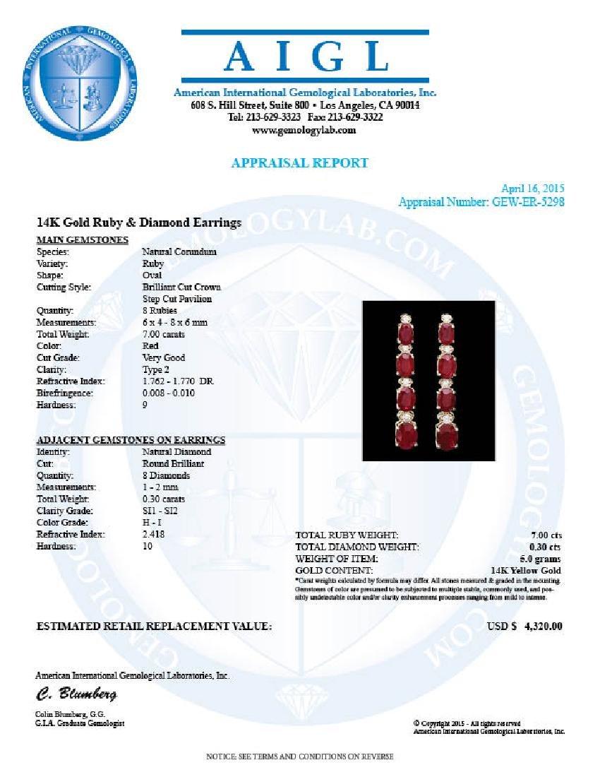 14k Gold 7.00ct Ruby 0.30ct Diamond Earrings - 4