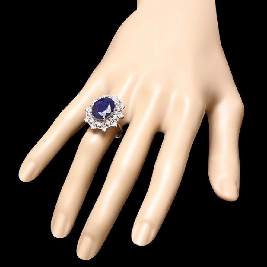 14k Gold 9.00ct Sapphire 0.85ct Diamond Ring - 3