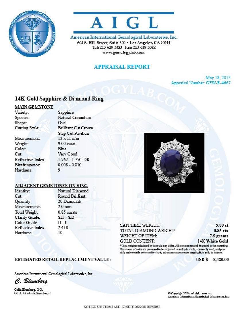 14k Gold 9.00ct Sapphire 0.85ct Diamond Ring - 4