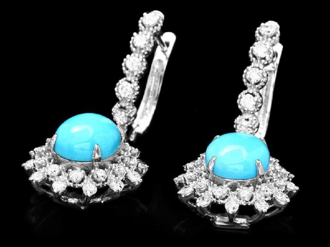 14k Gold 5ct Turquoise 1.50ct Diamond Earrings - 2