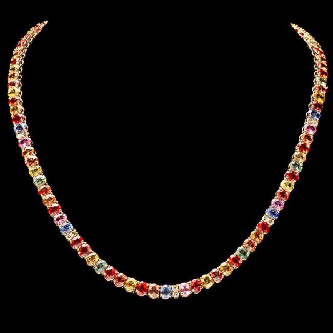 14k Gold 44ct Sapphire 1.0ct Diamond Necklace