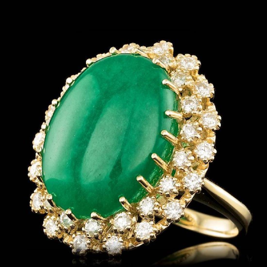 14k Yellow Gold 13.50ct Jade 1.30ct Diamond Ring - 2