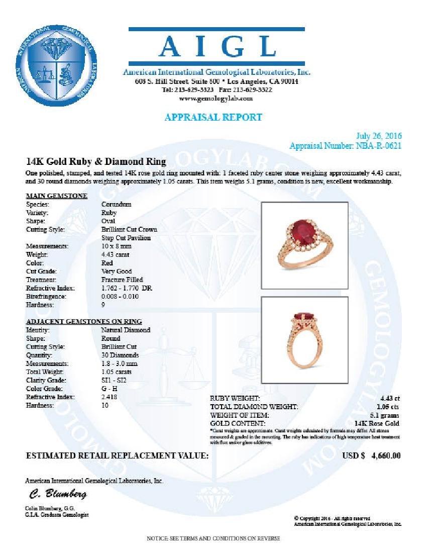 14K Gold 4.43ct Ruby 1.05cts Diamond Ring - 3