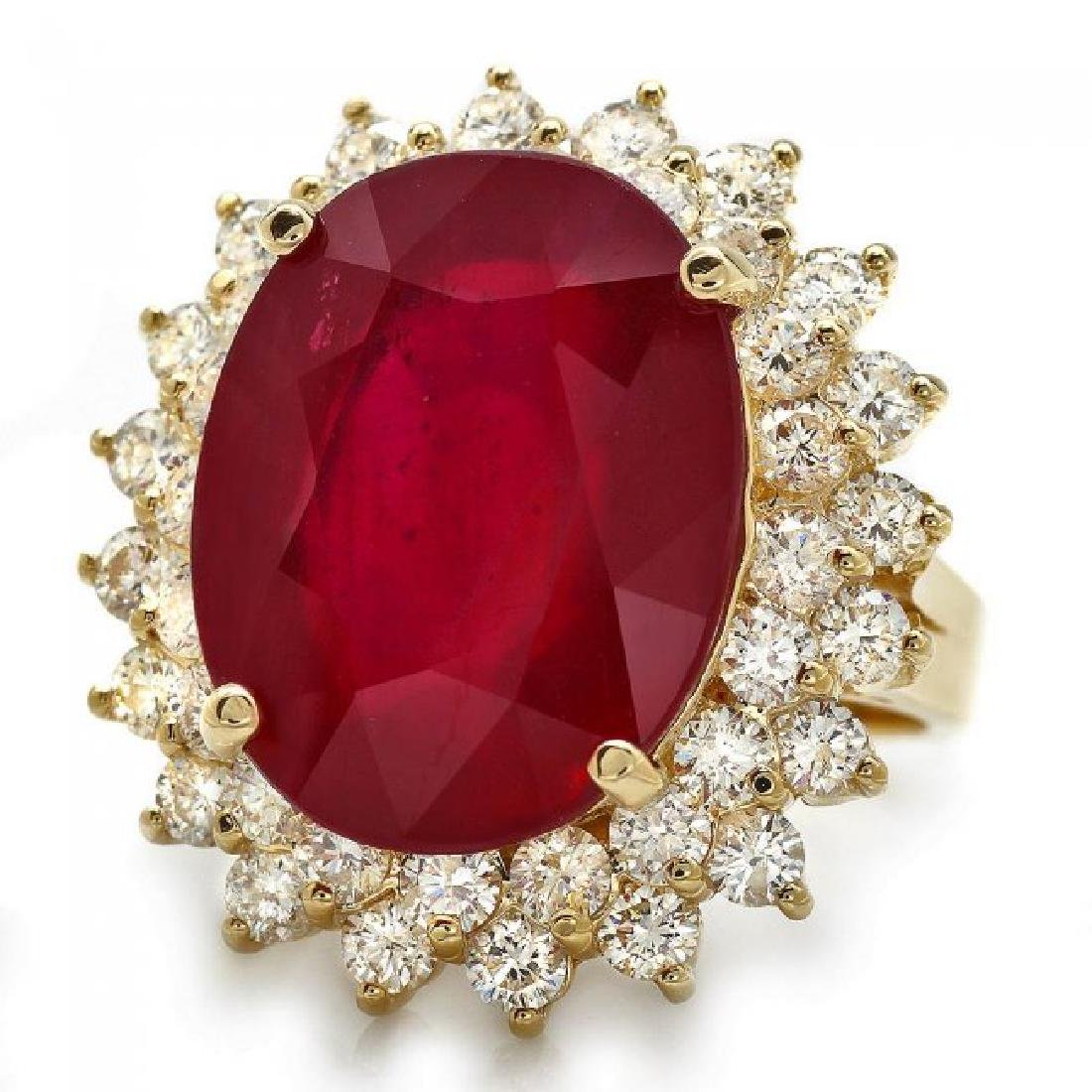 14k Yellow Gold 18.00ct Ruby 2.40ct Diamond Ring - 2