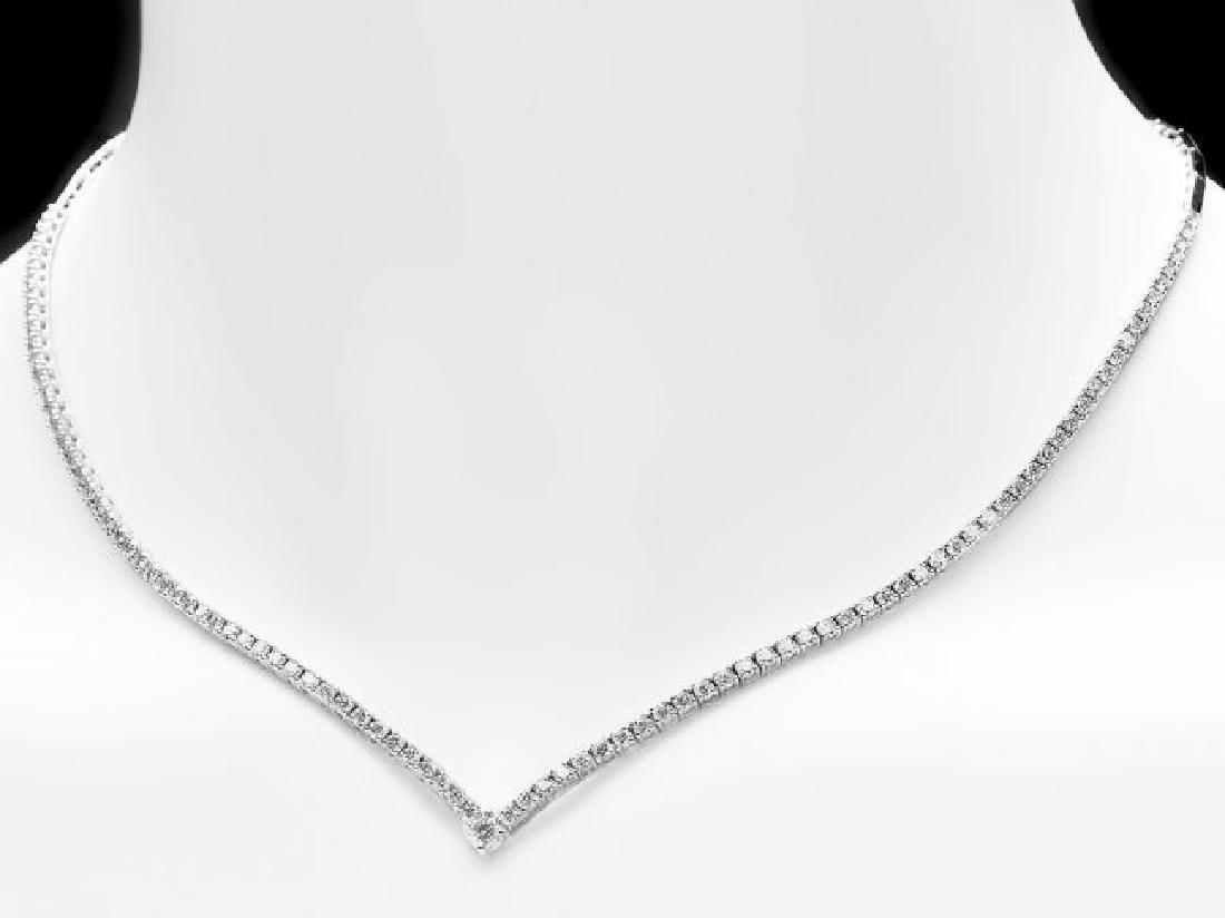 18k White Gold 3.50ct Diamond Necklace - 4