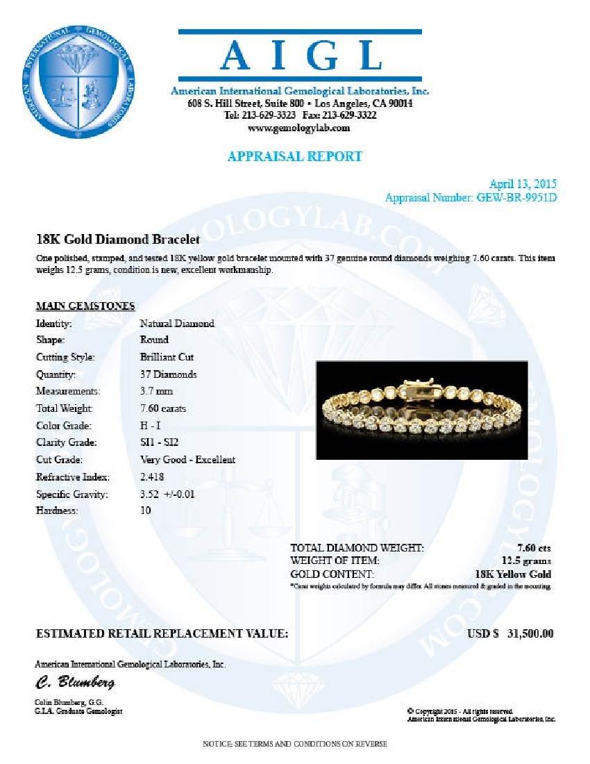 18k Yellow Gold 7.60ct Diamond Bracelet - 6