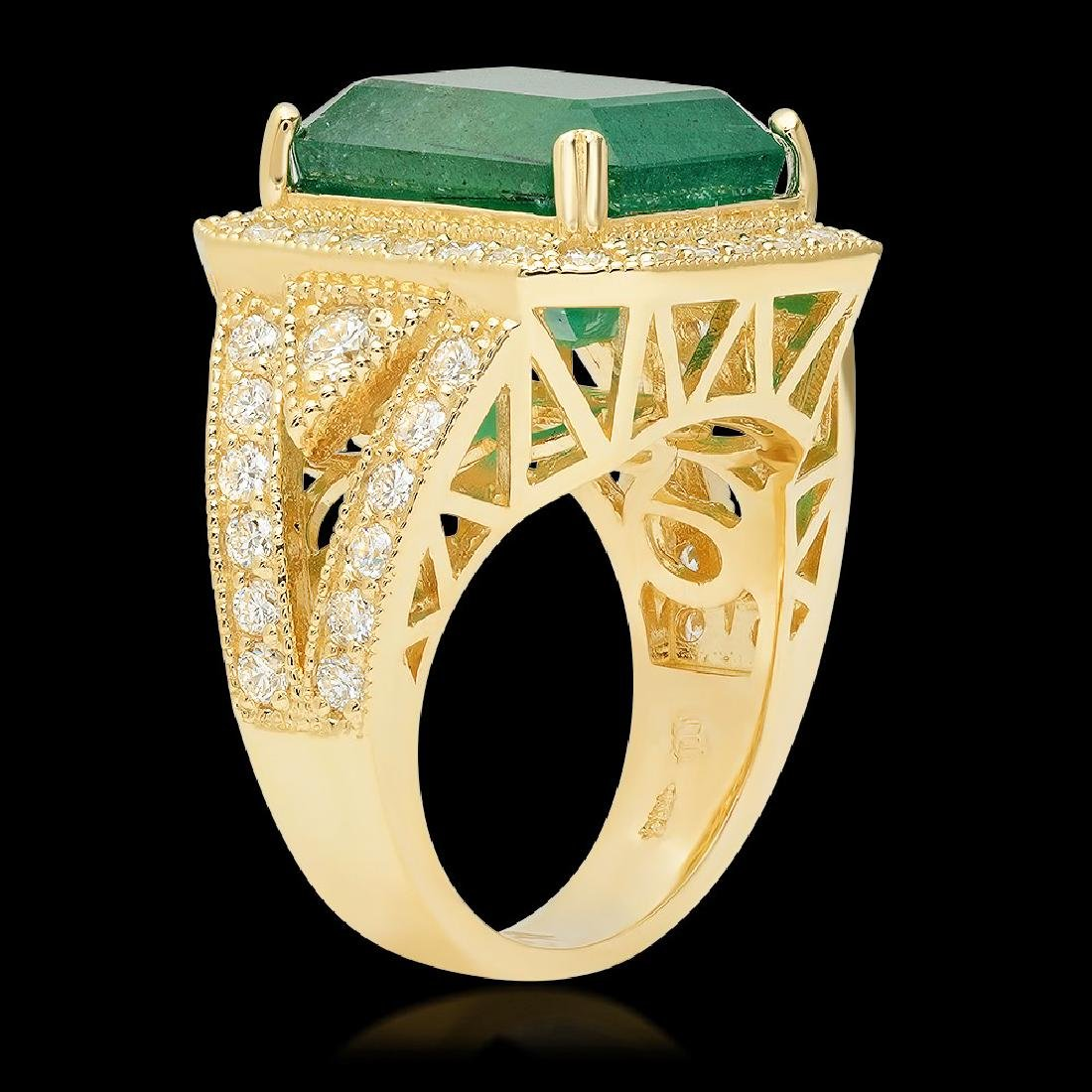 14K Yellow Gold, 8.00cts Emerald, 1.60cts Diamond Ring - 2