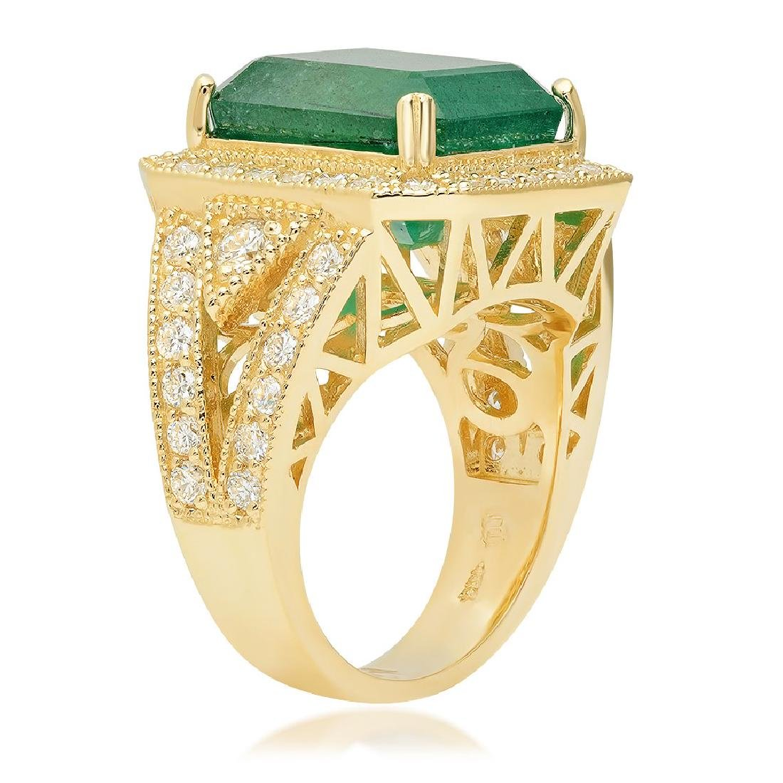 14K Yellow Gold, 8.00cts Emerald, 1.60cts Diamond Ring - 4