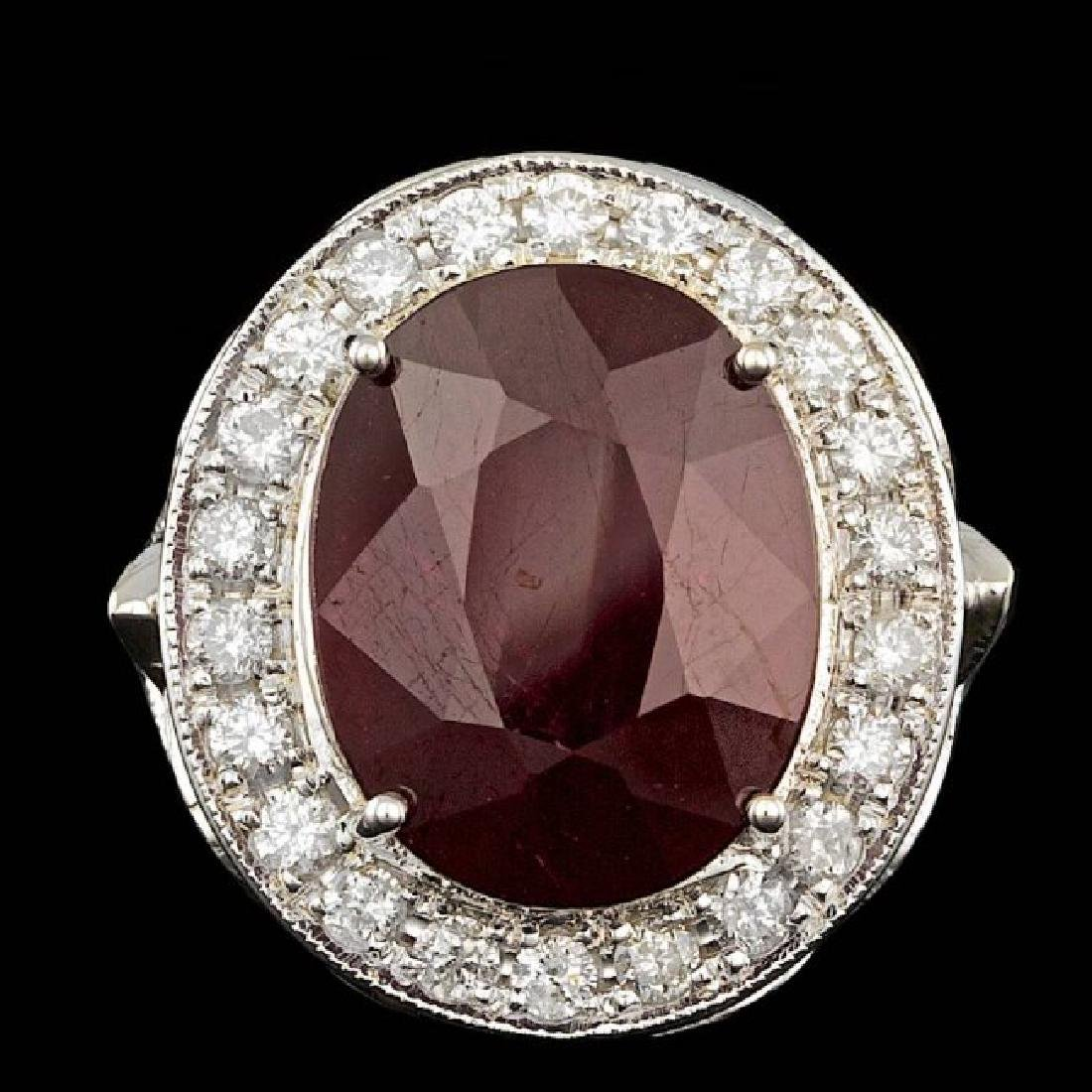 14k White Gold 12.50ct Ruby 1.90ct Diamond Ring - 2