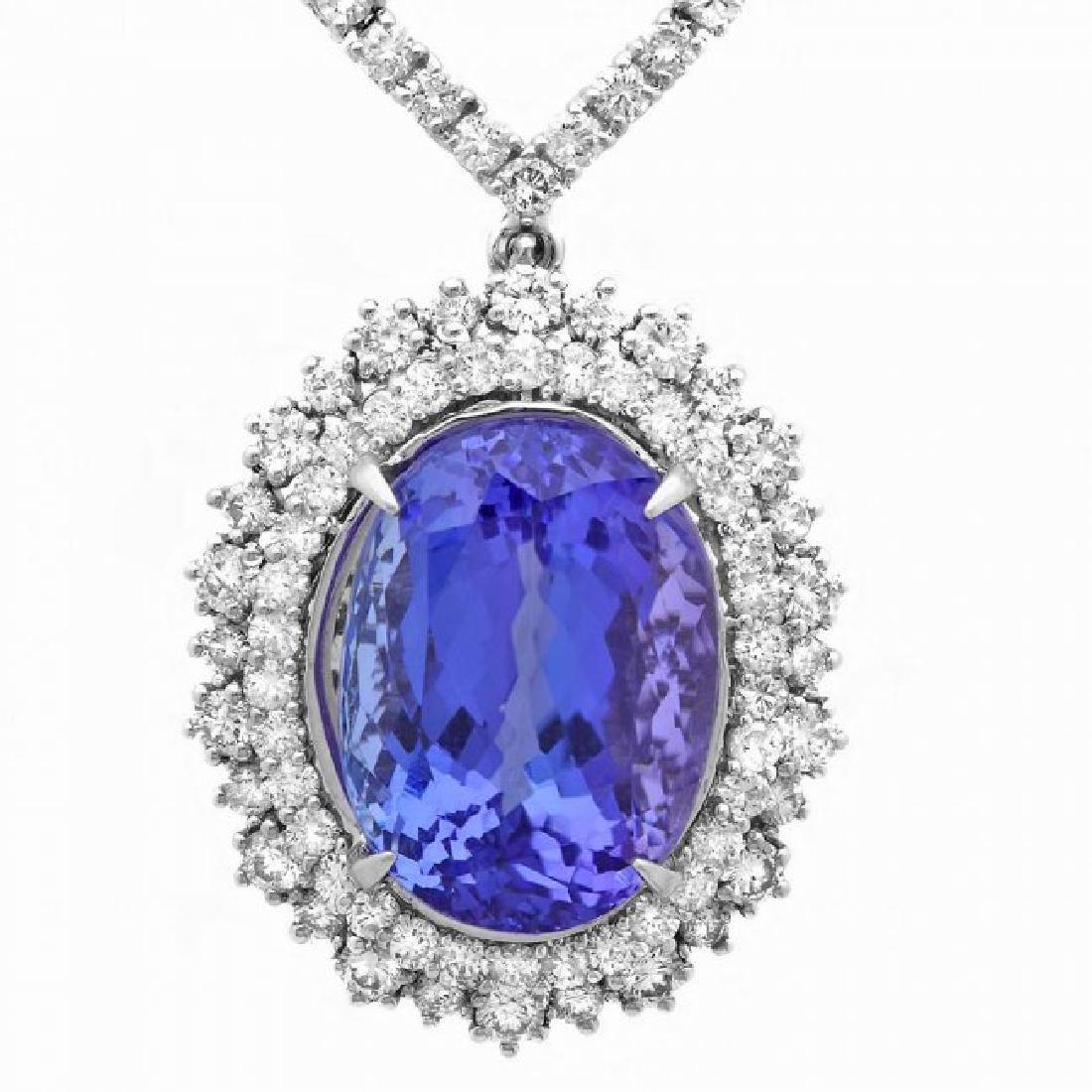 18k Gold 21ct Tanzanite 6ct Diamond Necklace - 2