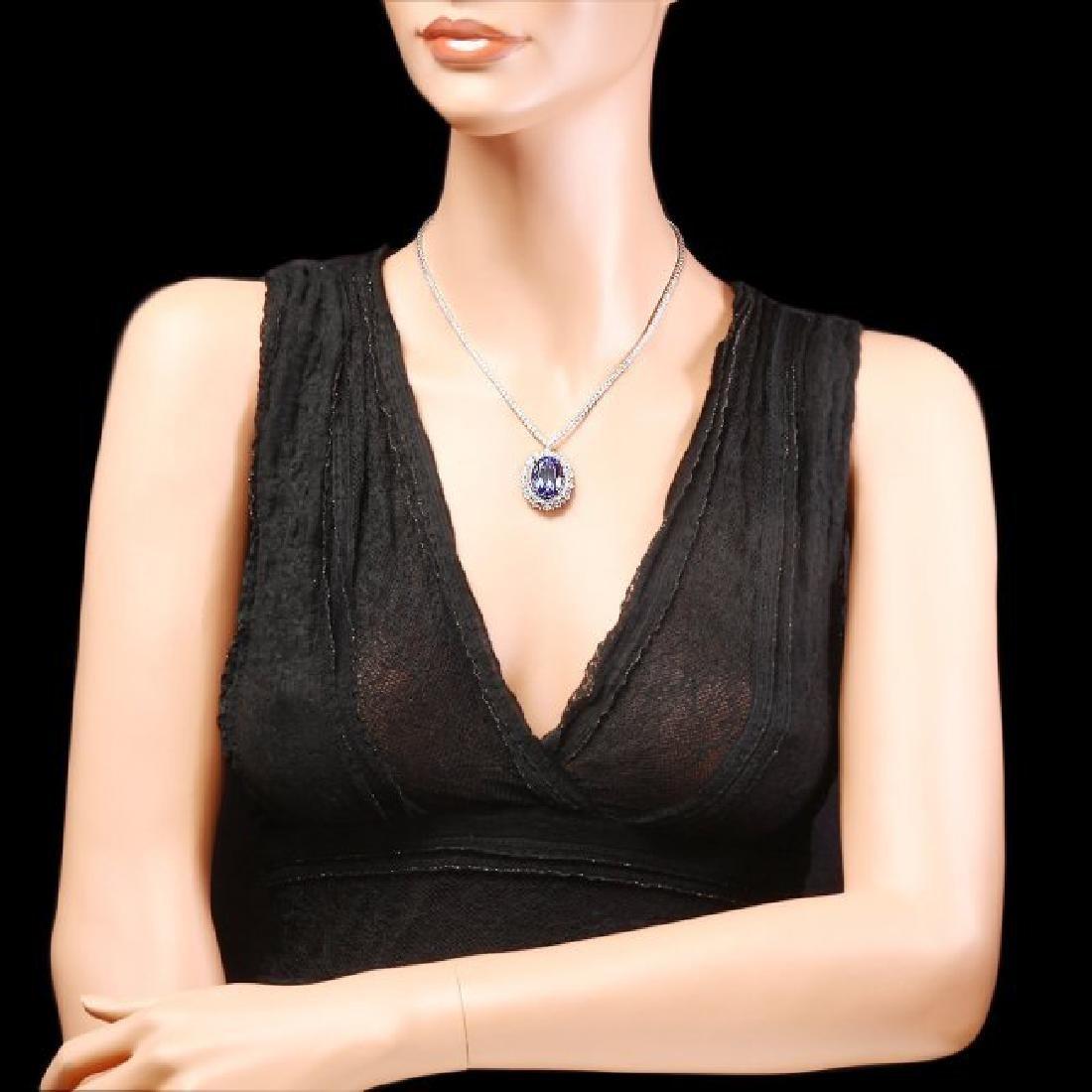 18k Gold 21ct Tanzanite 6ct Diamond Necklace - 4