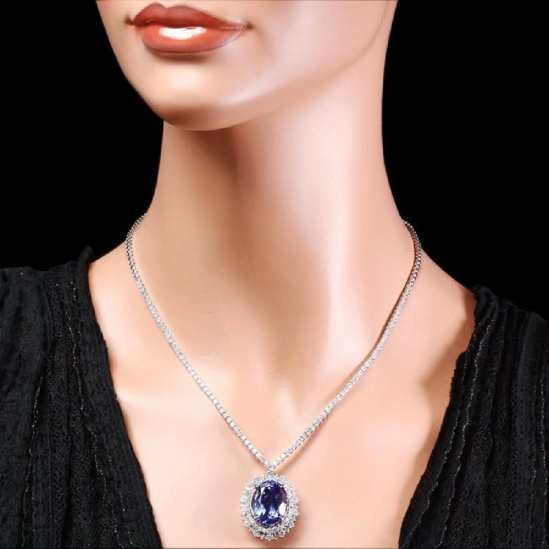 18k Gold 21ct Tanzanite 6ct Diamond Necklace - 5