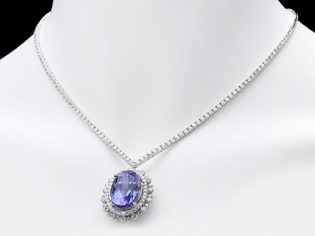 18k Gold 21ct Tanzanite 6ct Diamond Necklace - 6