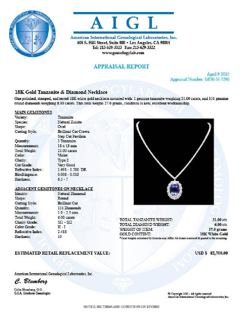 18k Gold 21ct Tanzanite 6ct Diamond Necklace - 7