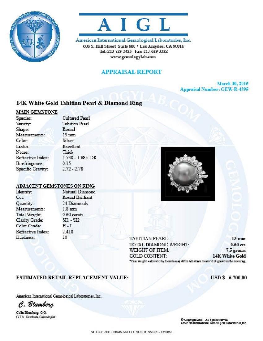 14k Gold 12 X 12mm Pearl 0.60ct Diamond Ring - 4