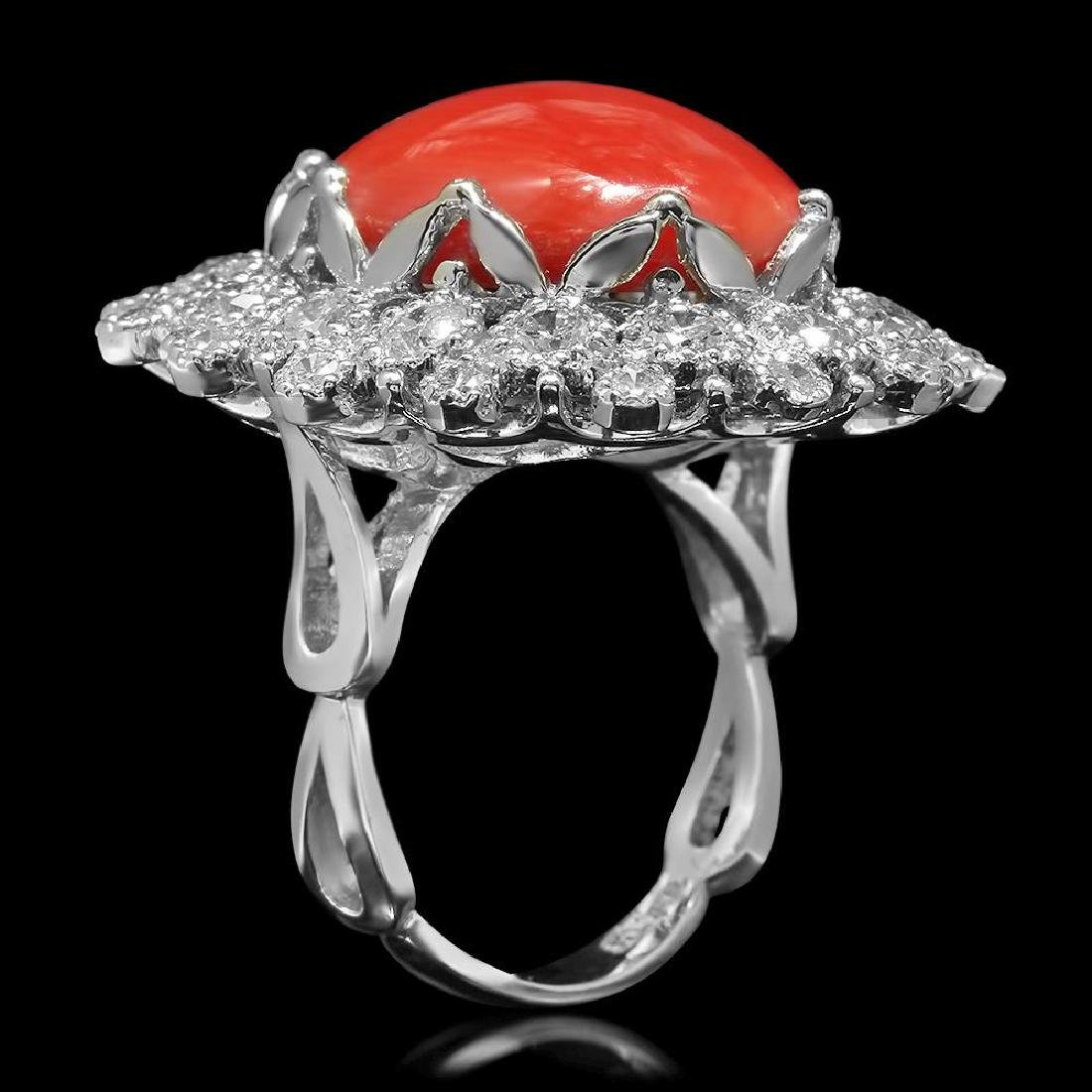 14K Gold 13.71ct Coral 2.58ct Diamond Ring - 2
