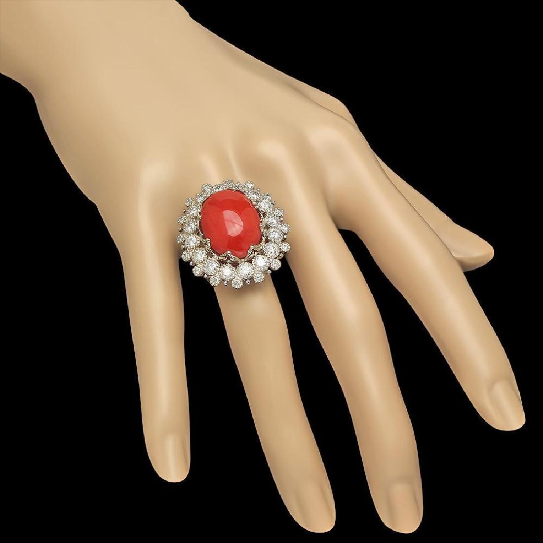 14K Gold 13.71ct Coral 2.58ct Diamond Ring - 3