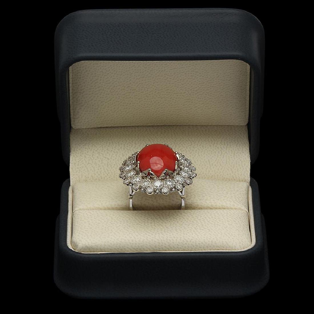14K Gold 13.71ct Coral 2.58ct Diamond Ring - 4