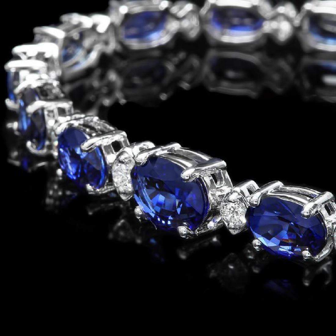 14k Gold 13.00ct Sapphire 0.75ct Diamond Bracelet - 2