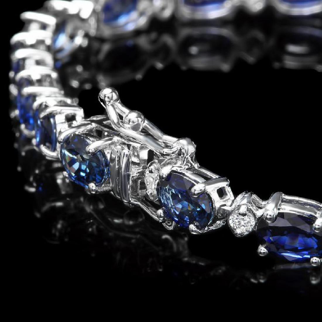 14k Gold 13.00ct Sapphire 0.75ct Diamond Bracelet - 3