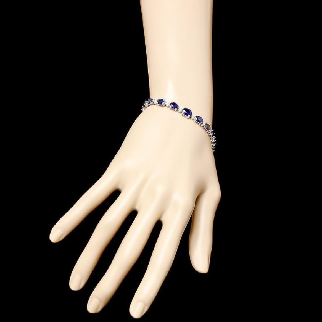 14k Gold 13.00ct Sapphire 0.75ct Diamond Bracelet - 4