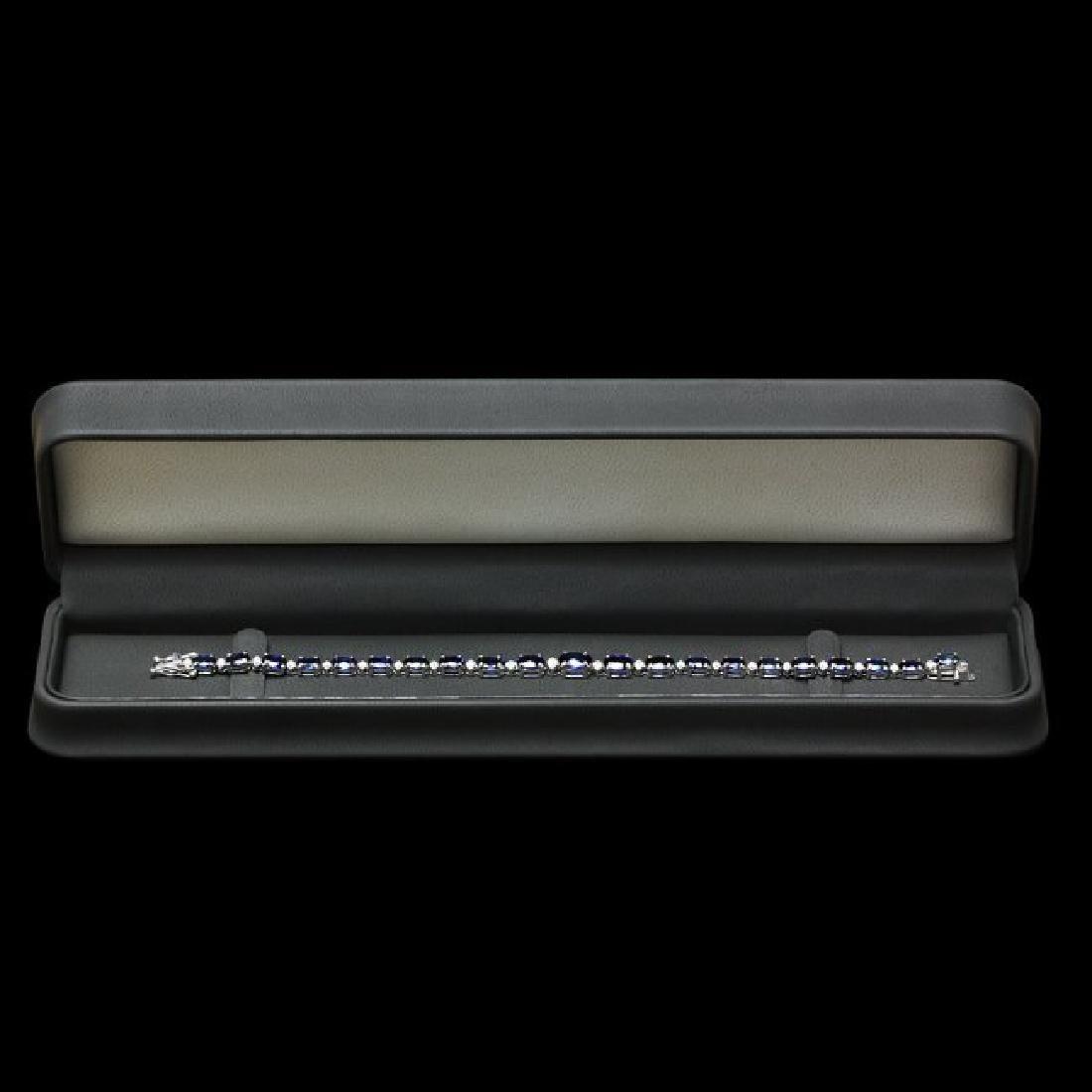 14k Gold 13.00ct Sapphire 0.75ct Diamond Bracelet - 5