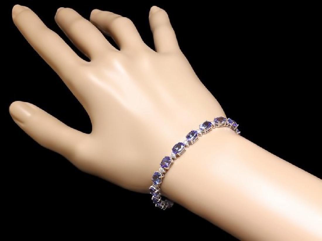 14k 14.00ct Tanzanite 0.90ct Diamond Bracelet - 4