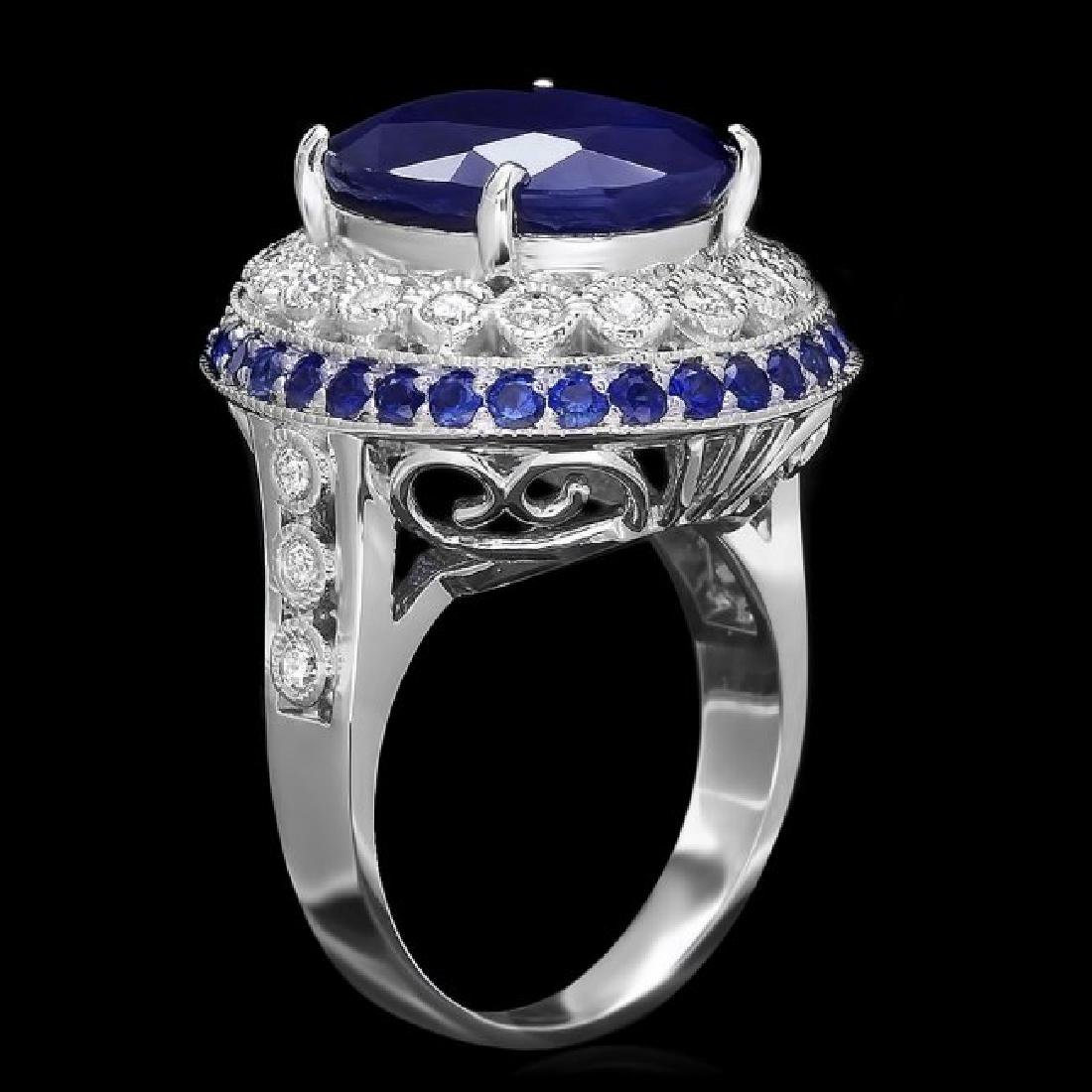 14k Gold 11.2ct Sapphire 0.60ct Diamond Ring
