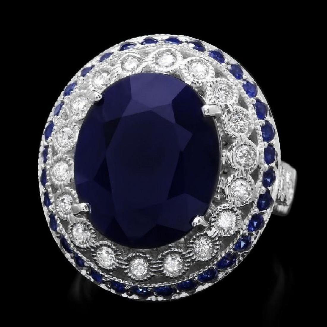 14k Gold 11.2ct Sapphire 0.60ct Diamond Ring - 2