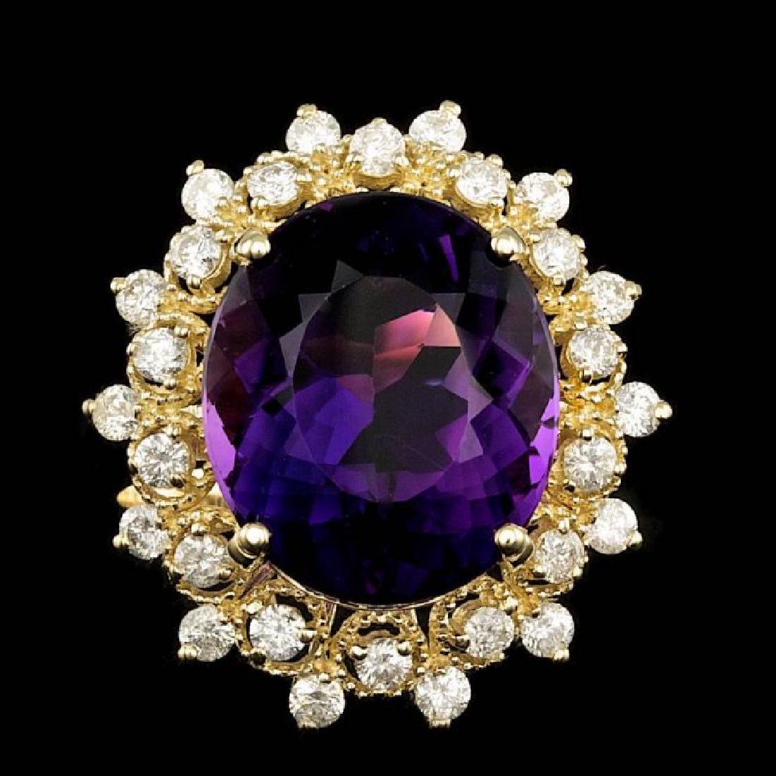 14k Gold 8.00ct Amethyst 0.80ct Diamond Ring