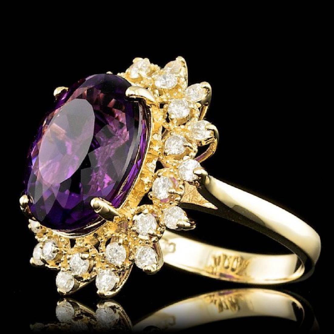 14k Gold 8.00ct Amethyst 0.80ct Diamond Ring - 2