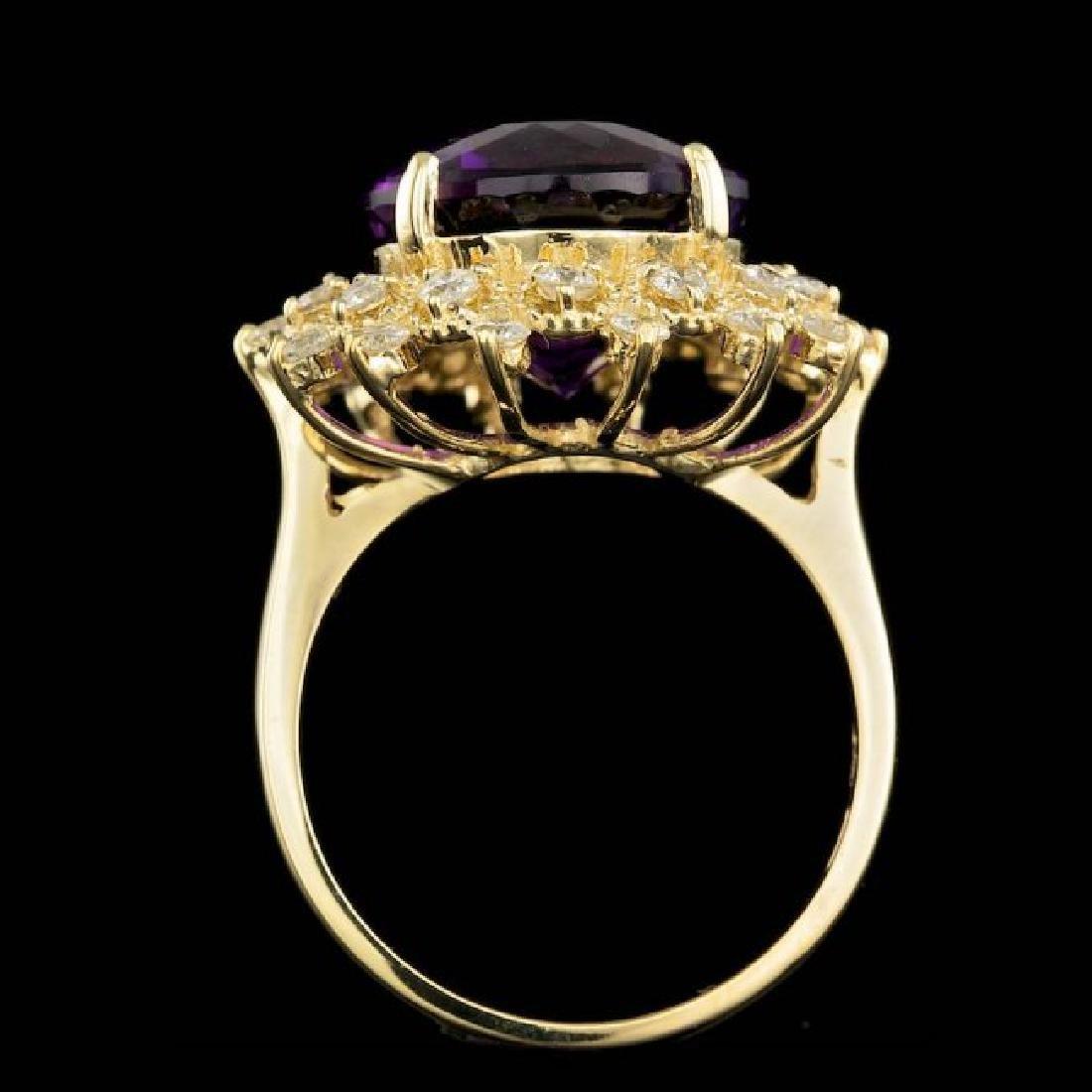 14k Gold 8.00ct Amethyst 0.80ct Diamond Ring - 3