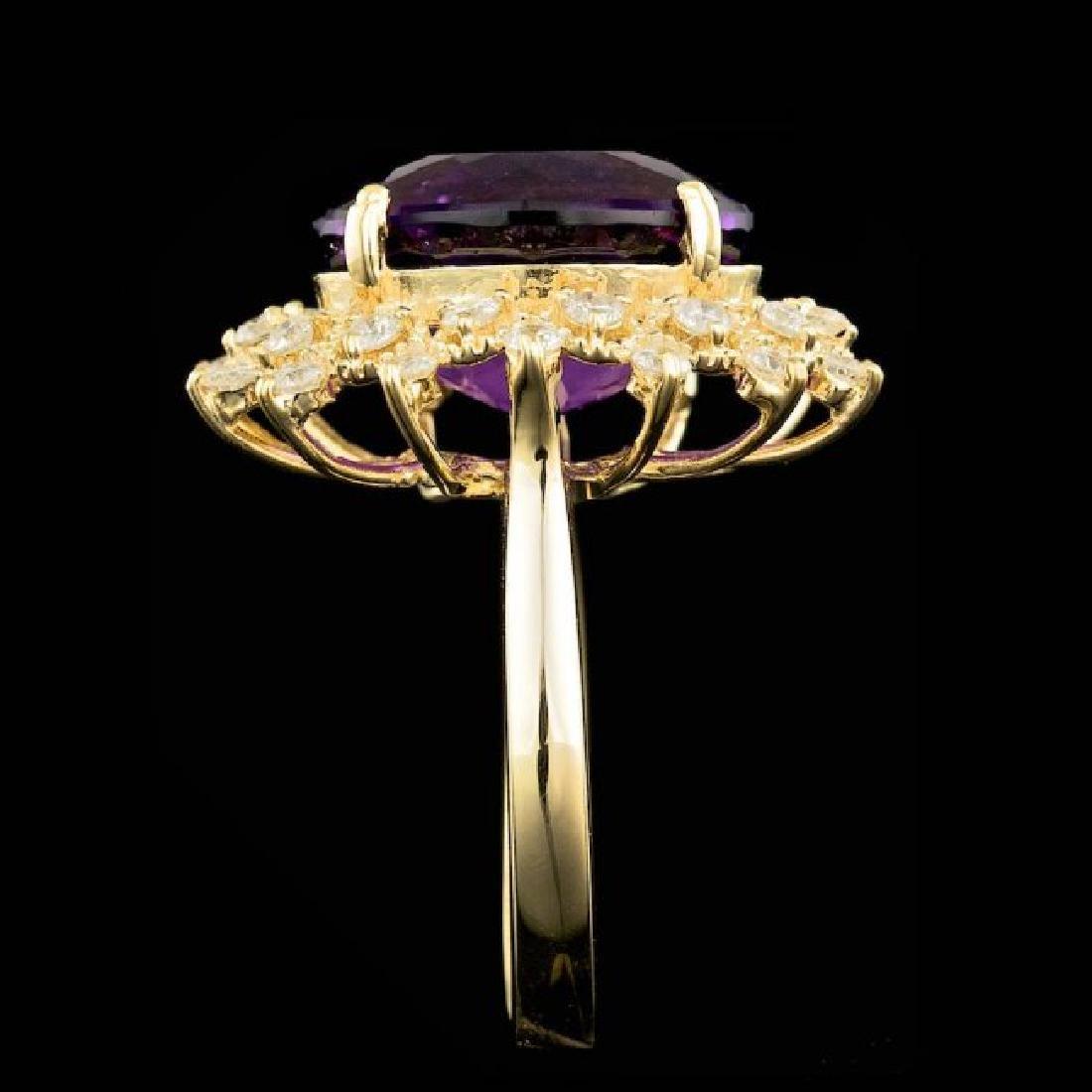 14k Gold 8.00ct Amethyst 0.80ct Diamond Ring - 4