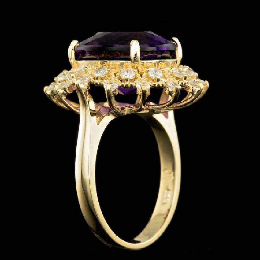 14k Gold 8.00ct Amethyst 0.80ct Diamond Ring - 5
