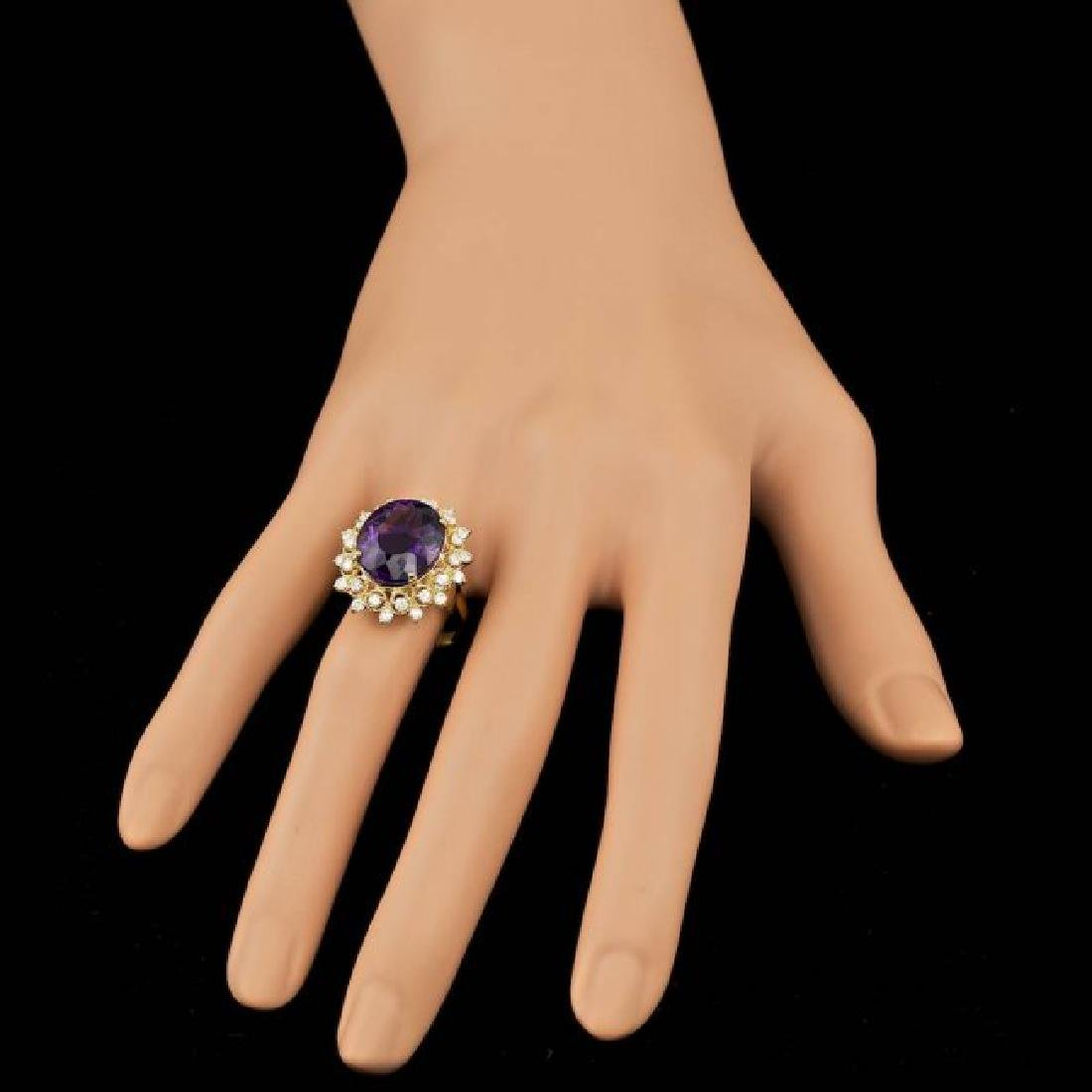 14k Gold 8.00ct Amethyst 0.80ct Diamond Ring - 6