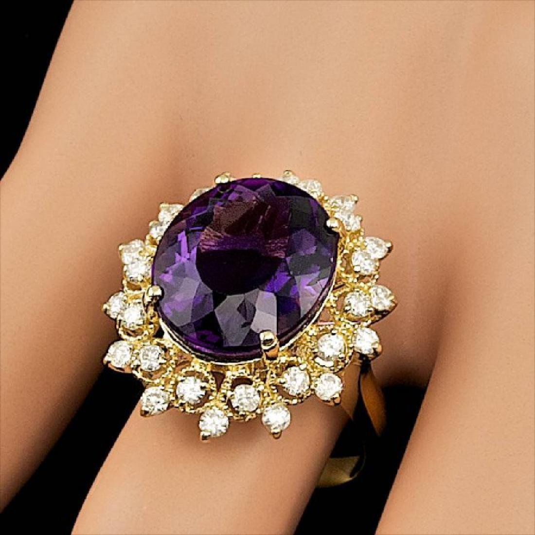 14k Gold 8.00ct Amethyst 0.80ct Diamond Ring - 7