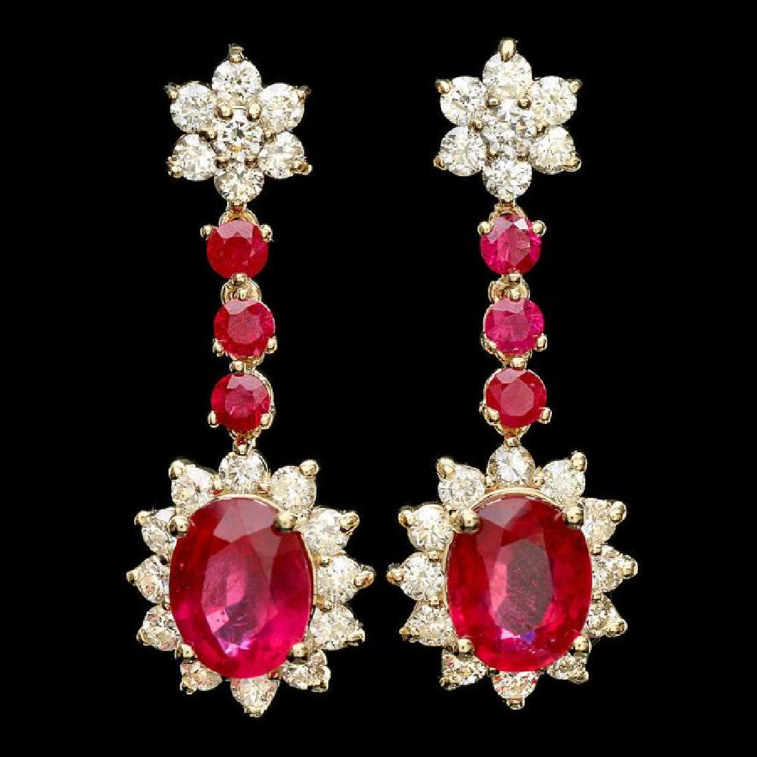 14k Yellow Gold 8ct Ruby 2.50ct Diamond Earrings