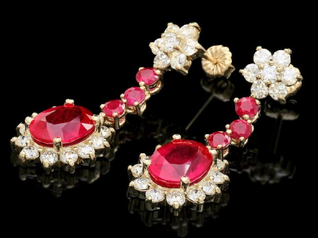 14k Yellow Gold 8ct Ruby 2.50ct Diamond Earrings - 2