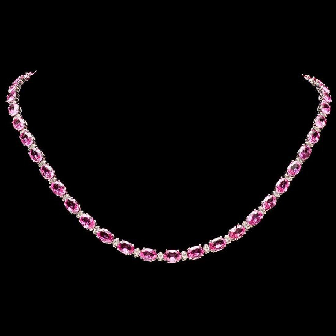 14k Gold 36ct Sapphire 1.70ct Diamond Necklace