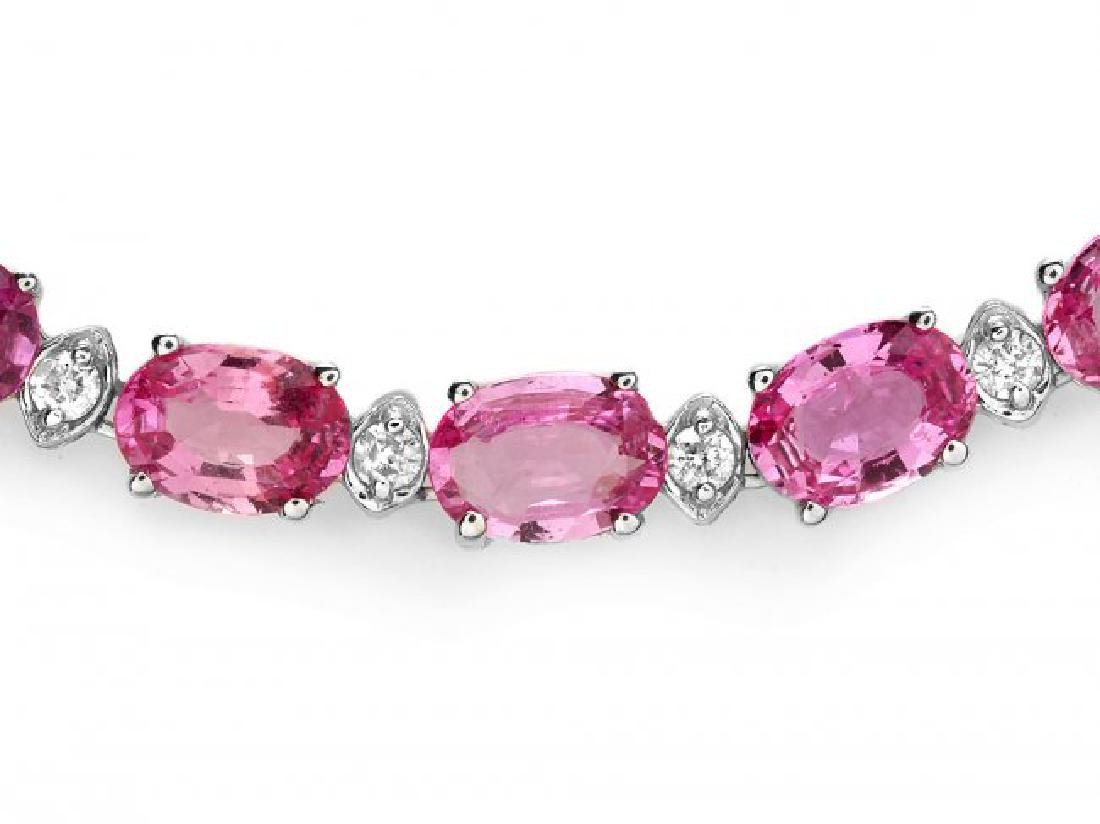 14k Gold 36ct Sapphire 1.70ct Diamond Necklace - 2