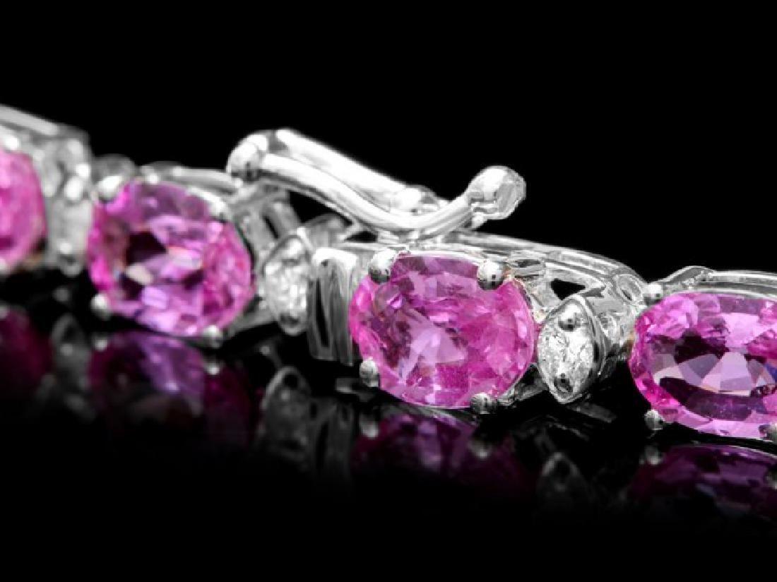 14k Gold 36ct Sapphire 1.70ct Diamond Necklace - 4
