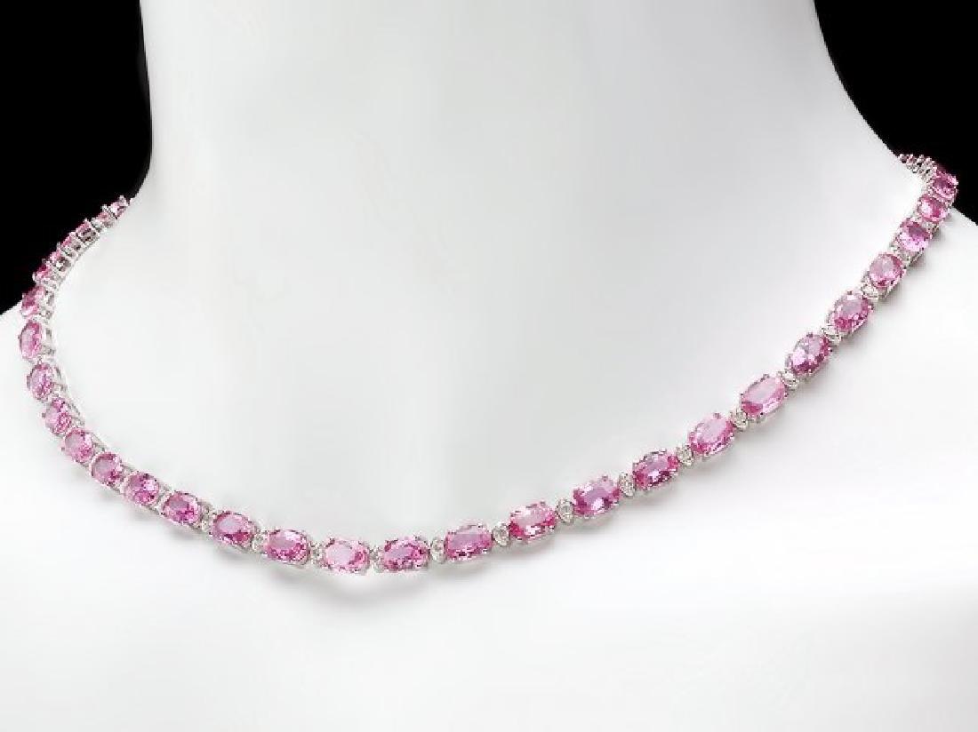 14k Gold 36ct Sapphire 1.70ct Diamond Necklace - 5
