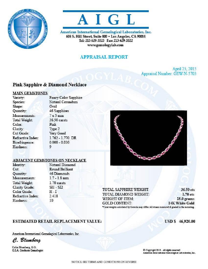 14k Gold 36ct Sapphire 1.70ct Diamond Necklace - 6