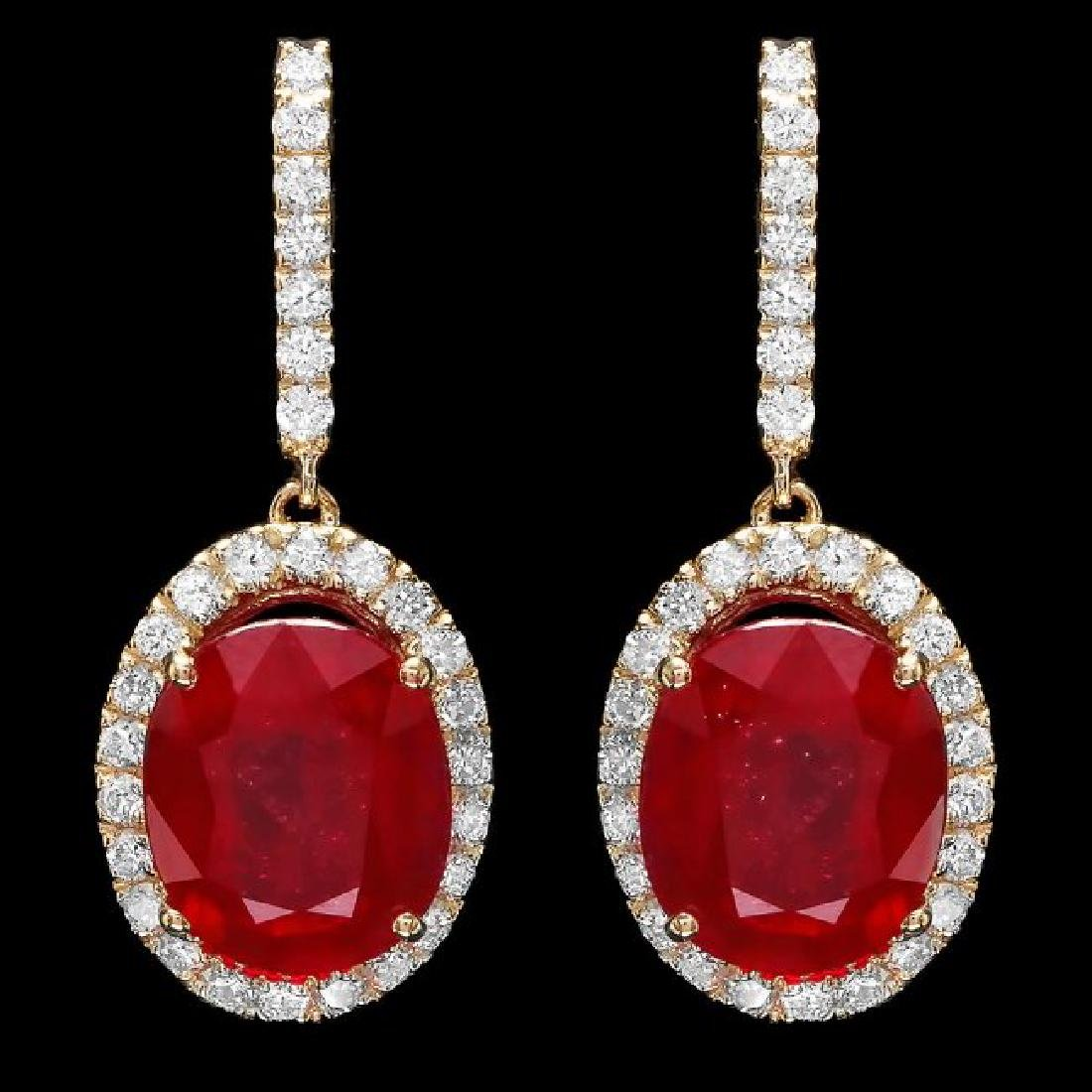 14k Gold 13.00ct Ruby 1.50ct Diamond Earrings