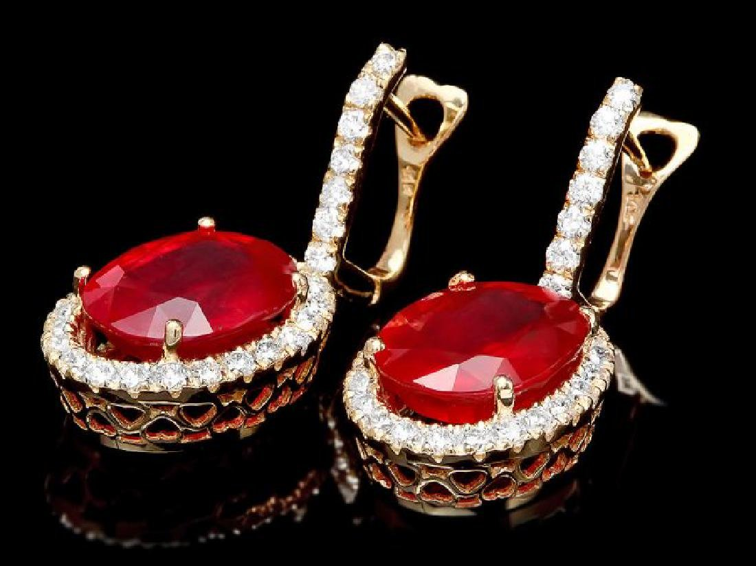 14k Gold 13.00ct Ruby 1.50ct Diamond Earrings - 2